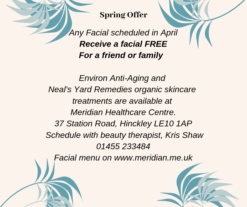 Facial special, buy one get one free until May 1st, 2019